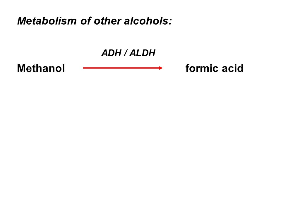 Metabolism of other alcohols: ADH / ALDH Methanol formic acid
