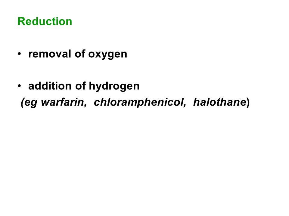 Reduction removal of oxygen addition of hydrogen (eg warfarin, chloramphenicol, halothane)