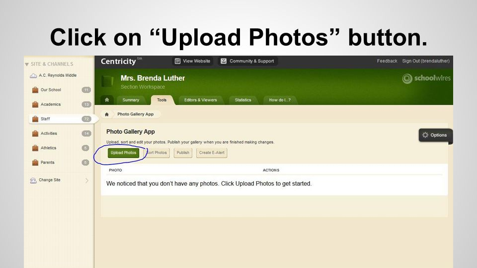 Click on Upload Photos button.