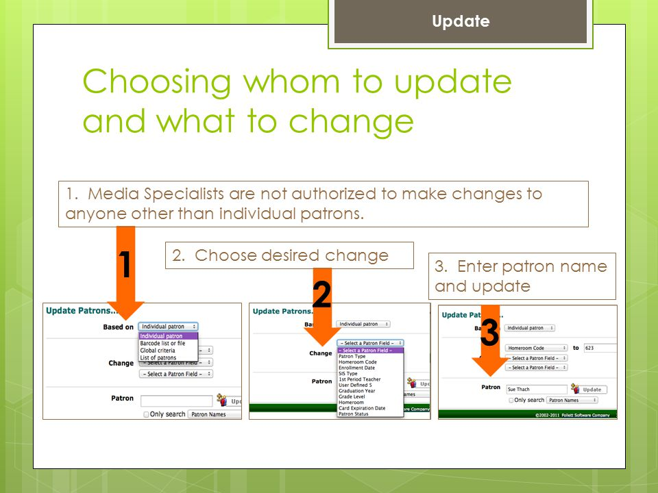 Choosing whom to update and what to change 1. Media Specialists are not authorized to make changes to anyone other than individual patrons. 1 2 3 2. C