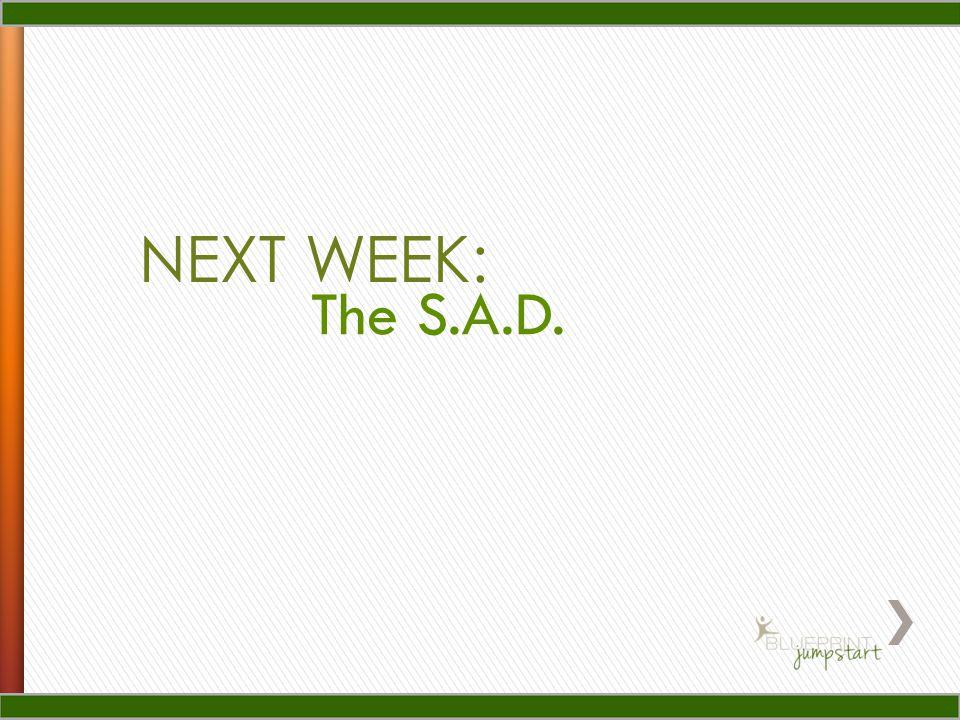 NEXT WEEK: The S.A.D.