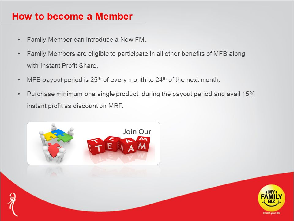 How to become a Member Family Member can introduce a New FM. Family Members are eligible to participate in all other benefits of MFB along with Instan