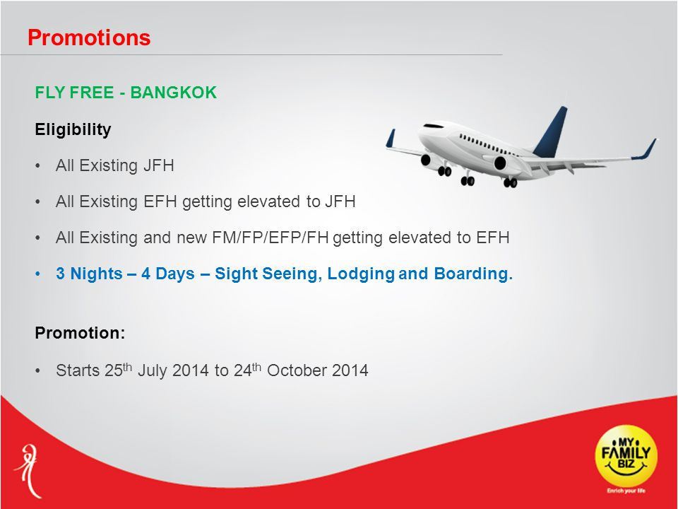 Promotions FLY FREE - BANGKOK Eligibility All Existing JFH All Existing EFH getting elevated to JFH All Existing and new FM/FP/EFP/FH getting elevated