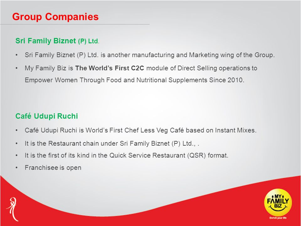 Group Companies Sri Family Biznet (P) Ltd. Sri Family Biznet (P) Ltd. is another manufacturing and Marketing wing of the Group. My Family Biz is The W