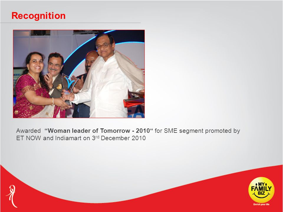 "Recognition Awarded ""Woman leader of Tomorrow - 2010"" for SME segment promoted by ET NOW and Indiamart on 3 rd December 2010"