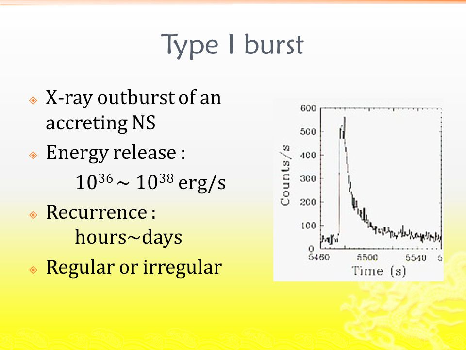 Type I burst  X-ray outburst of an accreting NS  Energy release : 10 36 ~ 10 38 erg/s  Recurrence : hours~days  Regular or irregular