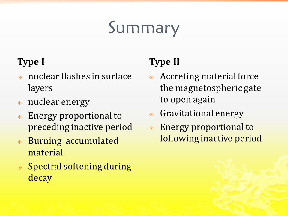 Summary Type I  nuclear flashes in surface layers  nuclear energy  Energy proportional to preceding inactive period  Burning accumulated material  Spectral softening during decay Type II  Accreting material force the magnetospheric gate to open again  Gravitational energy  Energy proportional to following inactive period