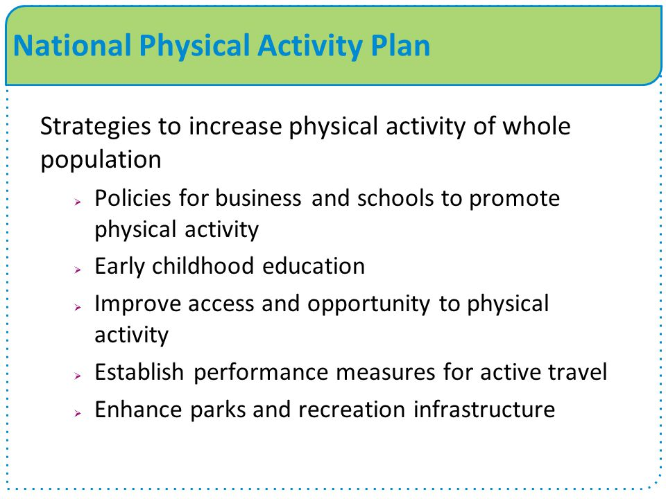 Strategies to increase physical activity of whole population  Policies for business and schools to promote physical activity  Early childhood education  Improve access and opportunity to physical activity  Establish performance measures for active travel  Enhance parks and recreation infrastructure National Physical Activity Plan