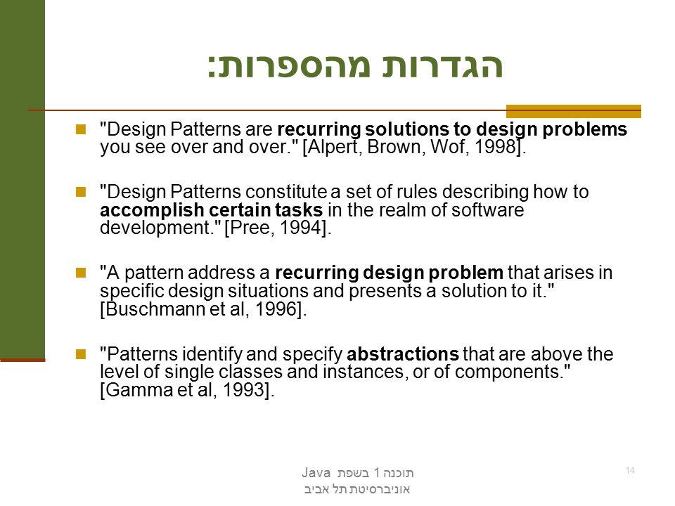 תוכנה 1 בשפת Java אוניברסיטת תל אביב 14 הגדרות מהספרות : Design Patterns are recurring solutions to design problems you see over and over. [Alpert, Brown, Wof, 1998].