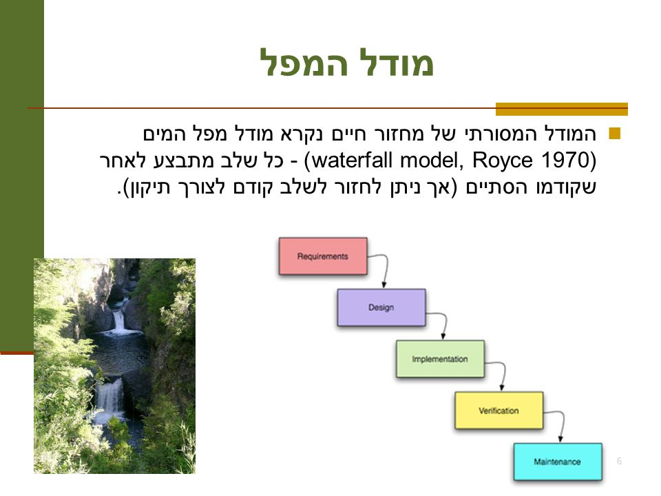 תוכנה 1 בשפת Java אוניברסיטת תל אביב 6 מודל המפל המודל המסורתי של מחזור חיים נקרא מודל מפל המים (waterfall model, Royce 1970) - כל שלב מתבצע לאחר שקודמו הסתיים (אך ניתן לחזור לשלב קודם לצורך תיקון).
