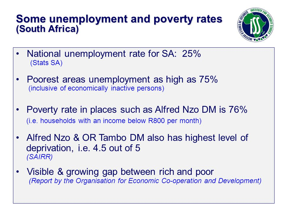 National unemployment rate for SA: 25% (Stats SA) Poorest areas unemployment as high as 75% (inclusive of economically inactive persons) Poverty rate