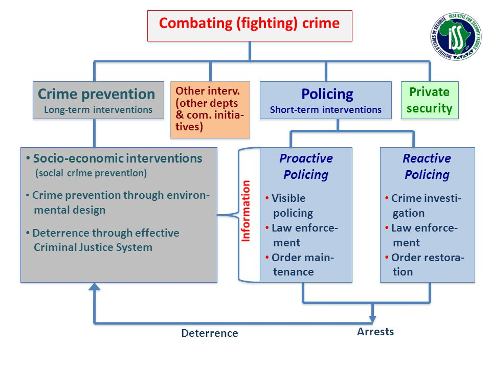 Combating (fighting) crime Policing Short-term interventions Policing Short-term interventions Private security Crime prevention Long-term interventio
