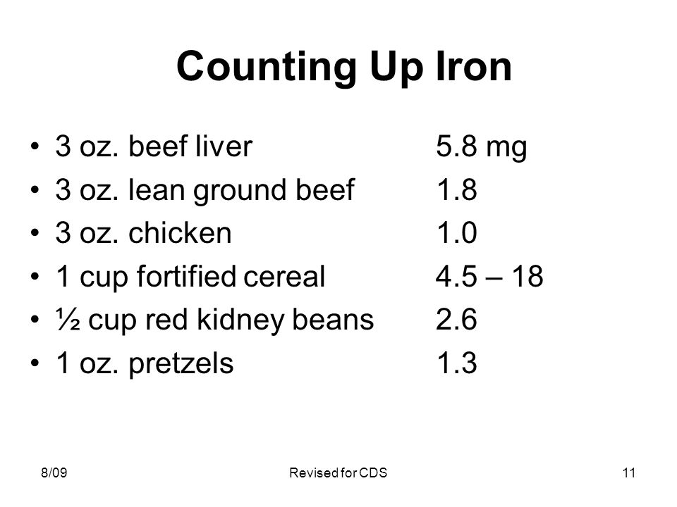 Counting Up Iron 3 oz. beef liver5.8 mg 3 oz. lean ground beef1.8 3 oz. chicken1.0 1 cup fortified cereal4.5 – 18 ½ cup red kidney beans2.6 1 oz. pret