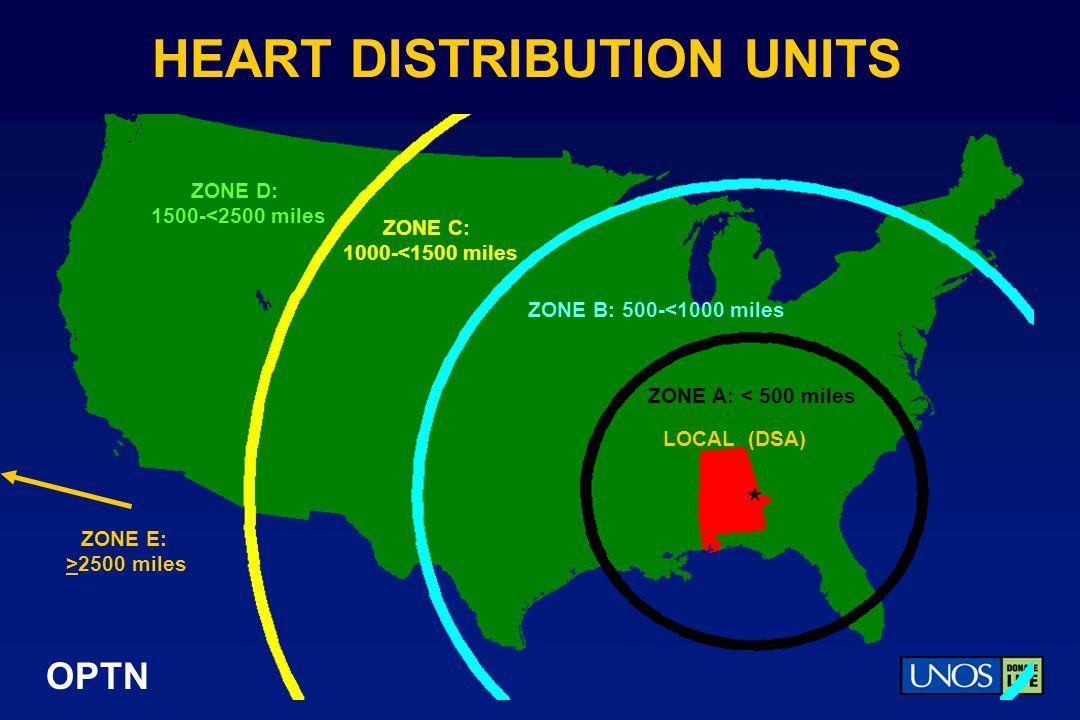 OPTN HEART DISTRIBUTION UNITS ZONE A: < 500 miles ZONE B: 500-<1000 miles ZONE C: 1000-<1500 miles ZONE D: 1500-<2500 miles LOCAL (DSA) ZONE E: >2500