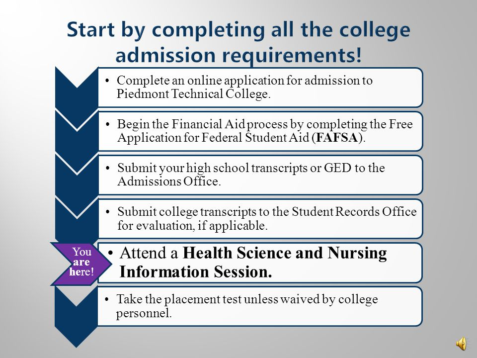  Review the following policies listed in the Health Science and Nursing Information Session Packet  Misrepresentation of Information  Age and Medical Requirements  Background Checks and Drug Screening  Physical and Mental Standards  Be sure to read the FAQ at the end of the packet!