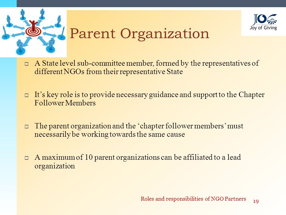  A State level sub-committee member, formed by the representatives of different NGOs from their representative State  It's key role is to provide necessary guidance and support to the Chapter Follower Members  The parent organization and the 'chapter follower members' must necessarily be working towards the same cause  A maximum of 10 parent organizations can be affiliated to a lead organization Parent Organization 19 Roles and responsibilities of NGO Partners