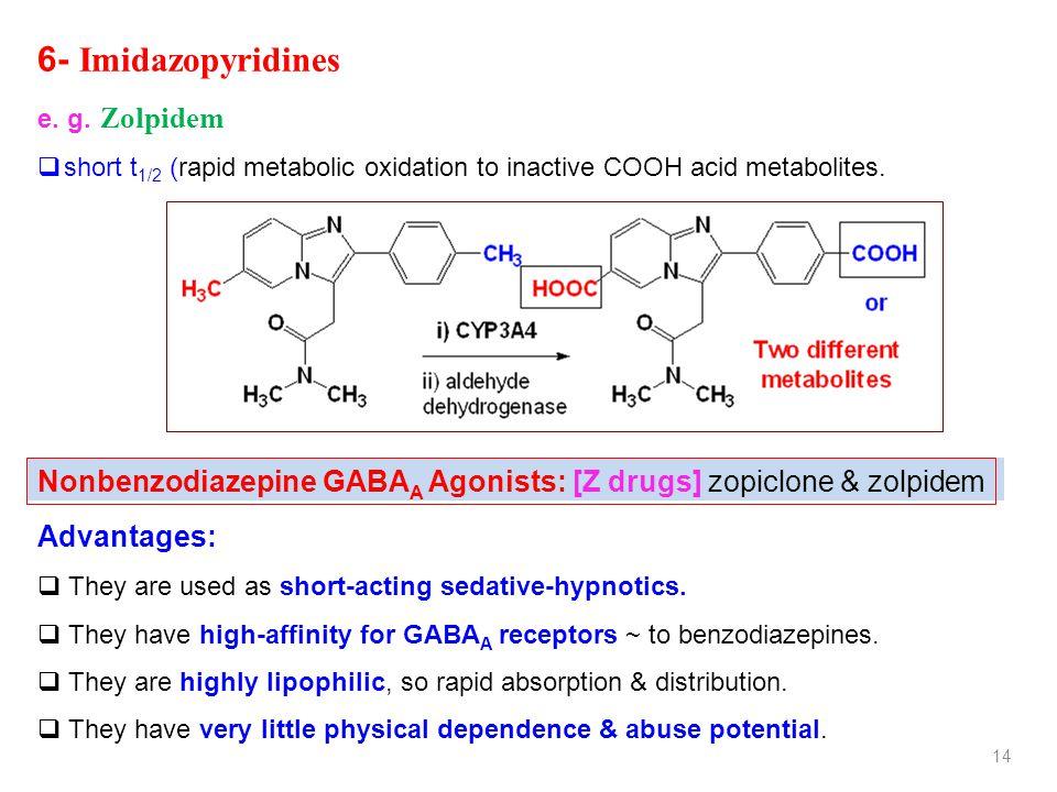 14 6- Imidazopyridines e. g. Zolpidem  short t 1/2 (rapid metabolic oxidation to inactive COOH acid metabolites. Nonbenzodiazepine GABA A Agonists: [
