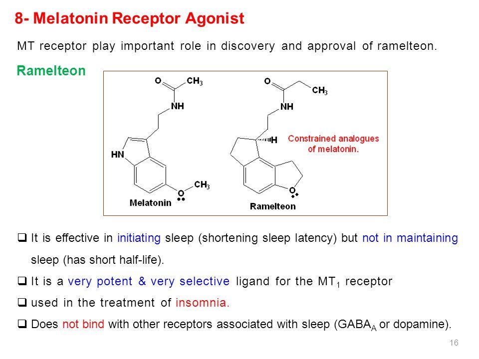8- Melatonin Receptor Agonist  It is effective in initiating sleep (shortening sleep latency) but not in maintaining sleep (has short half-life).  I