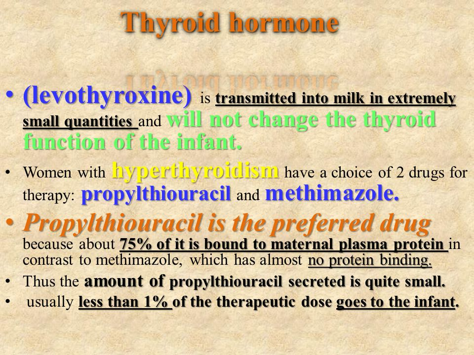(levothyroxine) transmitted into milk in extremely small quantities will not change the thyroid function of the infant. (levothyroxine) is transmitted