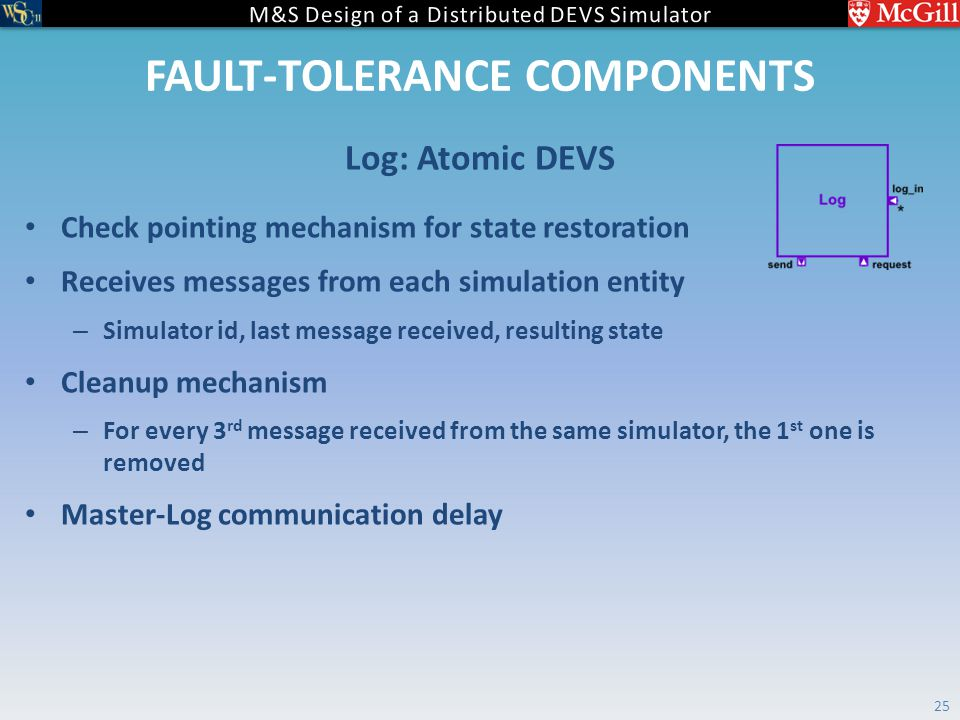 FAULT-TOLERANCE COMPONENTS Check pointing mechanism for state restoration Receives messages from each simulation entity – Simulator id, last message received, resulting state Cleanup mechanism – For every 3 rd message received from the same simulator, the 1 st one is removed Master-Log communication delay Log: Atomic DEVS 25