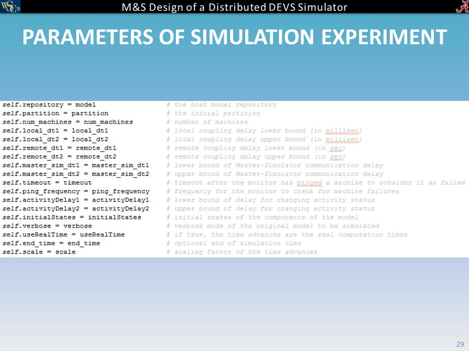 PARAMETERS OF SIMULATION EXPERIMENT 29