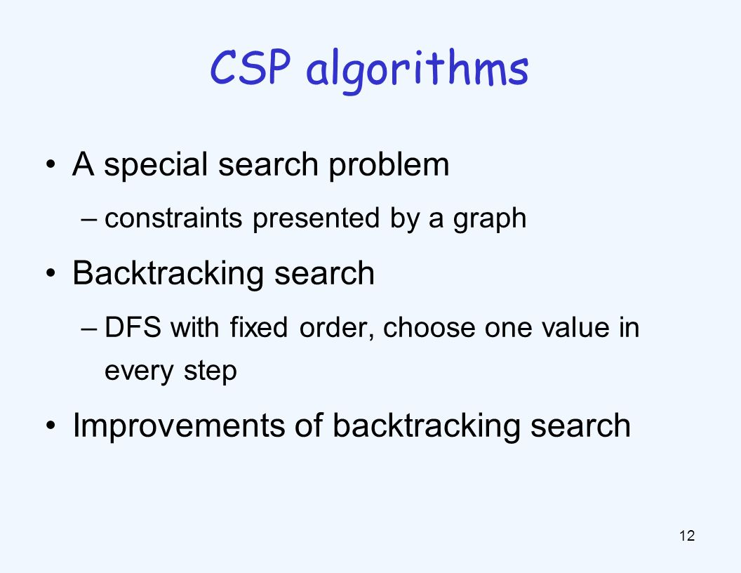 A special search problem –constraints presented by a graph Backtracking search –DFS with fixed order, choose one value in every step Improvements of backtracking search 12 CSP algorithms