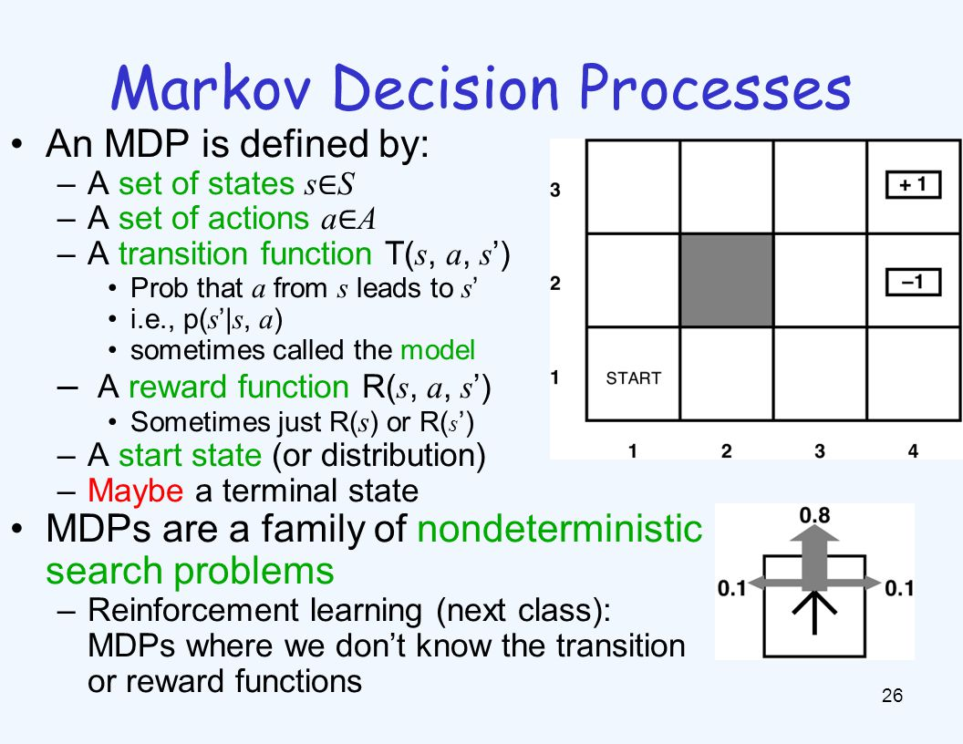 Markov Decision Processes 26 An MDP is defined by: –A set of states s ∈ S –A set of actions a ∈ A –A transition function T( s, a, s ') Prob that a from s leads to s ' i.e., p( s '| s, a ) sometimes called the model – A reward function R( s, a, s ') Sometimes just R( s ) or R( s ') –A start state (or distribution) –Maybe a terminal state MDPs are a family of nondeterministic search problems –Reinforcement learning (next class): MDPs where we don't know the transition or reward functions