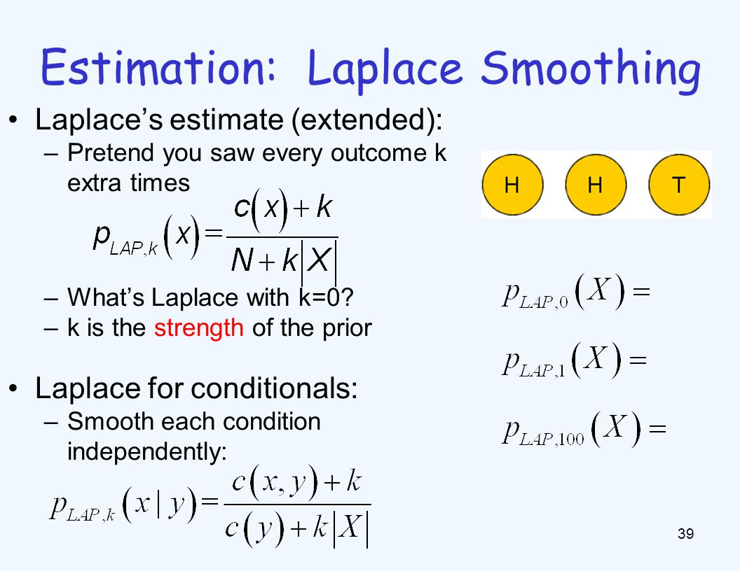 Estimation: Laplace Smoothing 39 Laplace's estimate (extended): –Pretend you saw every outcome k extra times –What's Laplace with k=0? –k is the stren