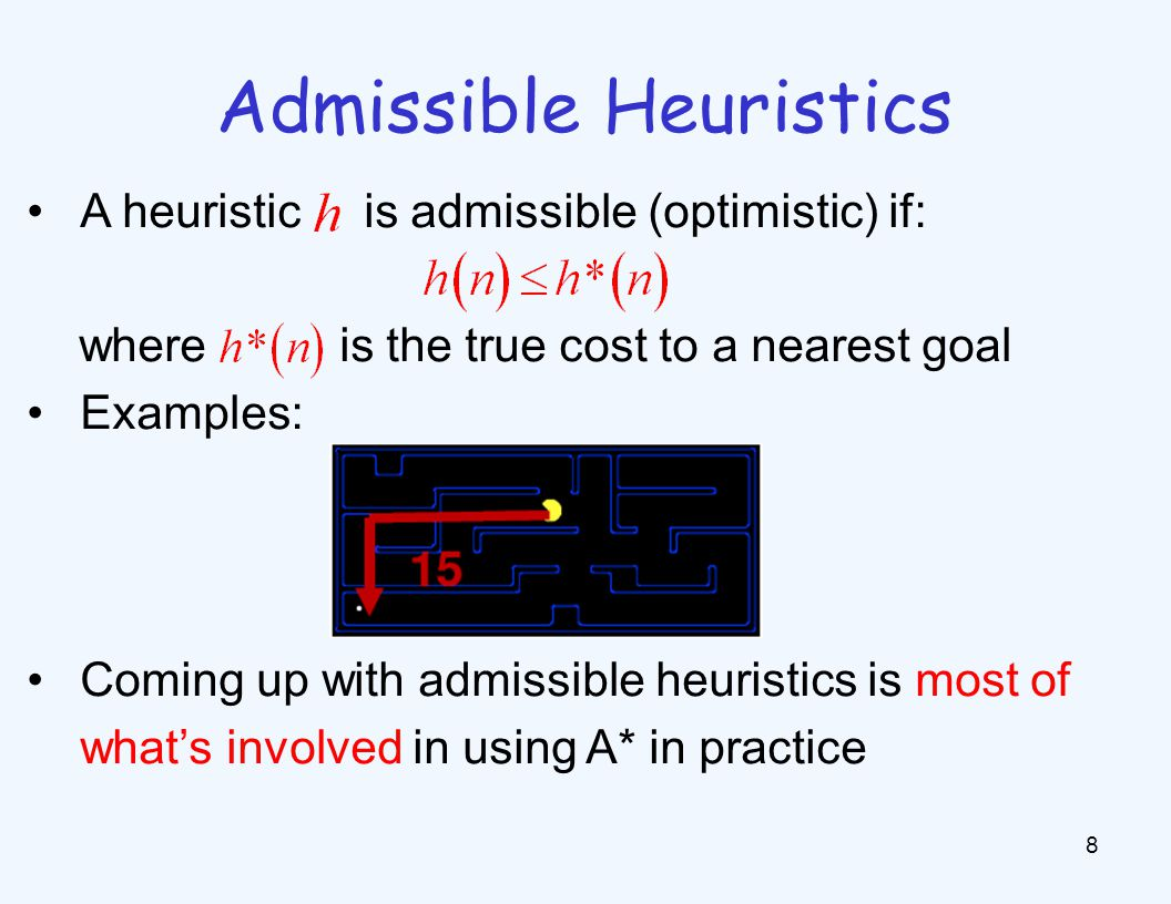 Admissible Heuristics 8 A heuristic is admissible (optimistic) if: where is the true cost to a nearest goal Examples: Coming up with admissible heuris