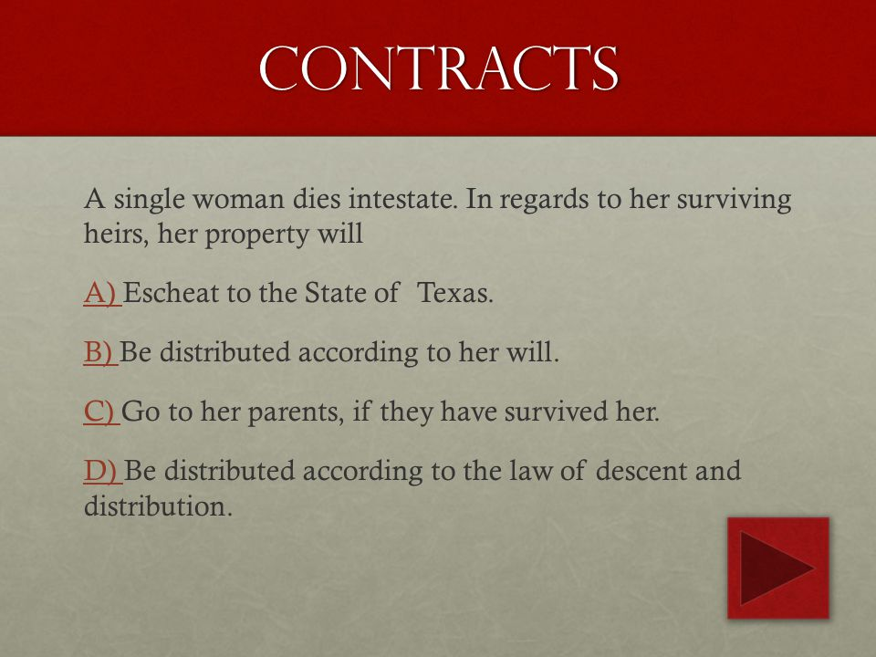 contracts A single woman dies intestate.