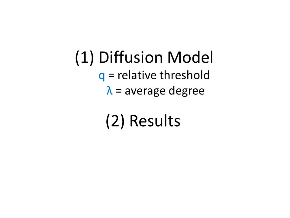 (1) Diffusion Model (2) Results q = relative threshold λ = average degree