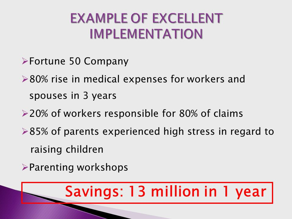  Fortune 50 Company  80% rise in medical expenses for workers and spouses in 3 years  20% of workers responsible for 80% of claims  85% of parents