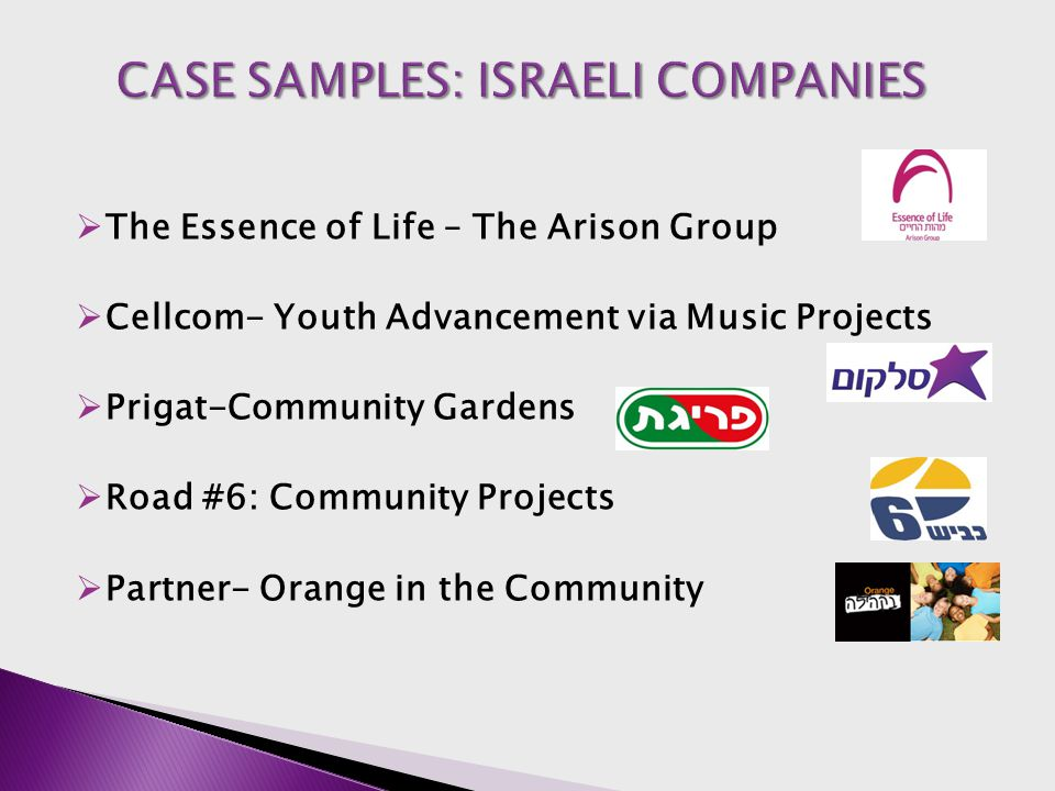  The Essence of Life – The Arison Group  Cellcom- Youth Advancement via Music Projects  Prigat-Community Gardens  Road #6: Community Projects  Pa