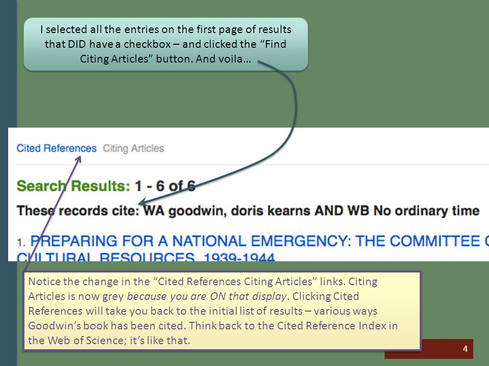4 I selected all the entries on the first page of results that DID have a checkbox – and clicked the Find Citing Articles button.