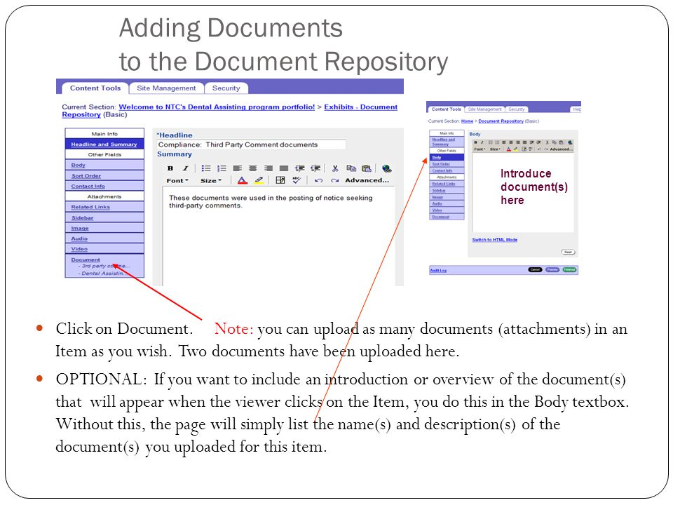 Adding Documents to the Document Repository Click on Document.