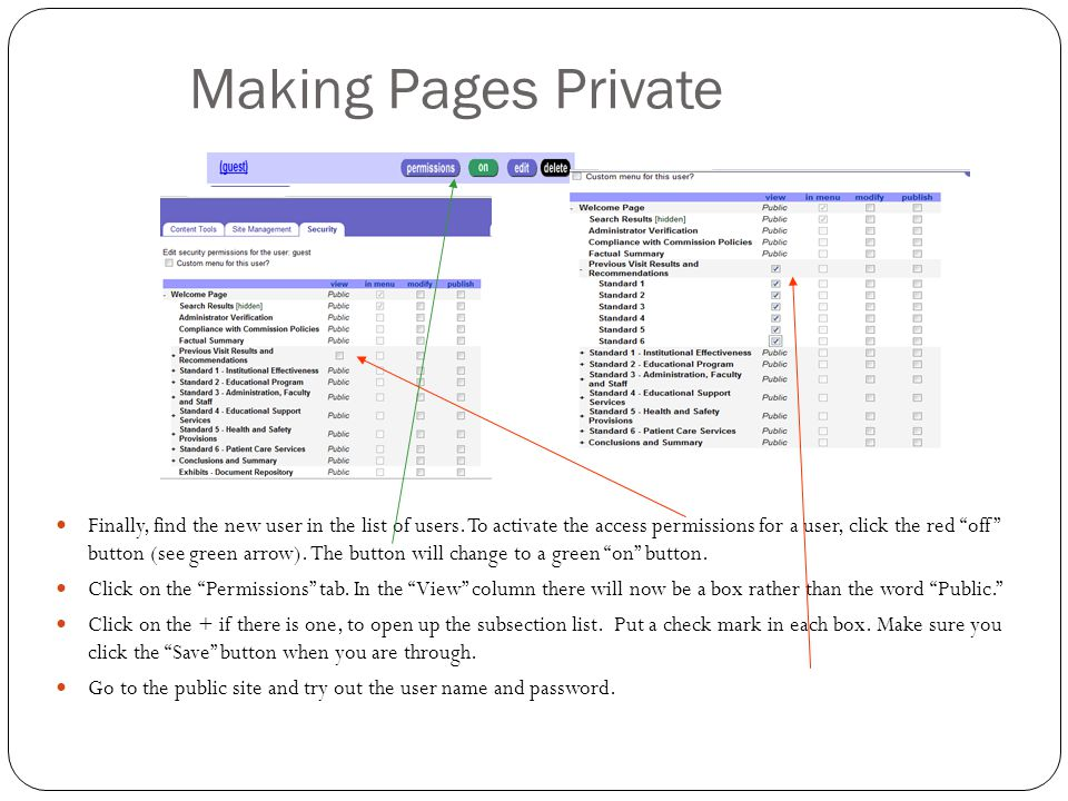 Making Pages Private Finally, find the new user in the list of users.