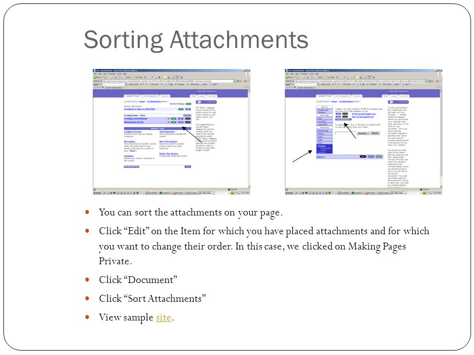 Sorting Attachments You can sort the attachments on your page.
