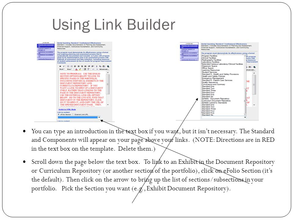 Using Link Builder You can type an introduction in the text box if you want, but it isn't necessary.