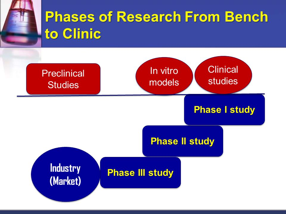 Phase II study Phase III study In vitro models Preclinical Studies Phase I study Industry (Market) Industry (Market) BENCH Phases of Research From Bench to Clinic Clinical studies