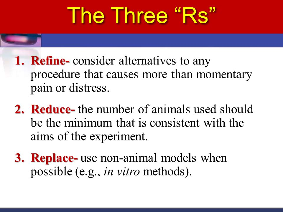The Three Rs 1.Refine- 1.Refine- consider alternatives to any procedure that causes more than momentary pain or distress.
