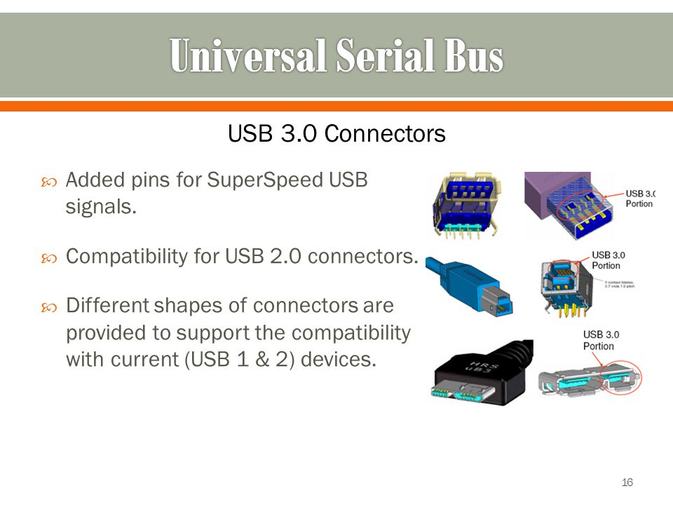  Added pins for SuperSpeed USB signals.  Compatibility for USB 2.0 connectors.