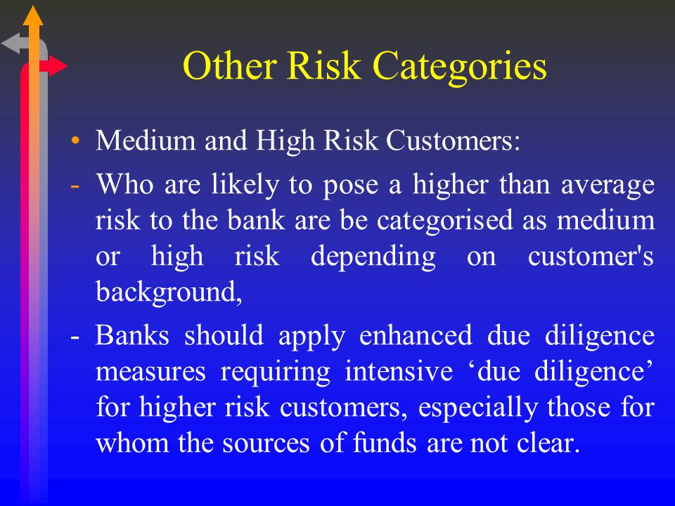 Other Risk Categories Medium and High Risk Customers: -Who are likely to pose a higher than average risk to the bank are be categorised as medium or high risk depending on customer s background, - Banks should apply enhanced due diligence measures requiring intensive 'due diligence' for higher risk customers, especially those for whom the sources of funds are not clear.