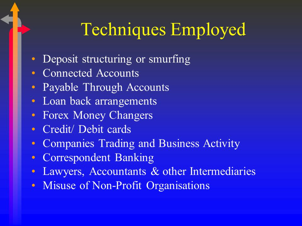 Techniques Employed Deposit structuring or smurfing Connected Accounts Payable Through Accounts Loan back arrangements Forex Money Changers Credit/ Debit cards Companies Trading and Business Activity Correspondent Banking Lawyers, Accountants & other Intermediaries Misuse of Non-Profit Organisations