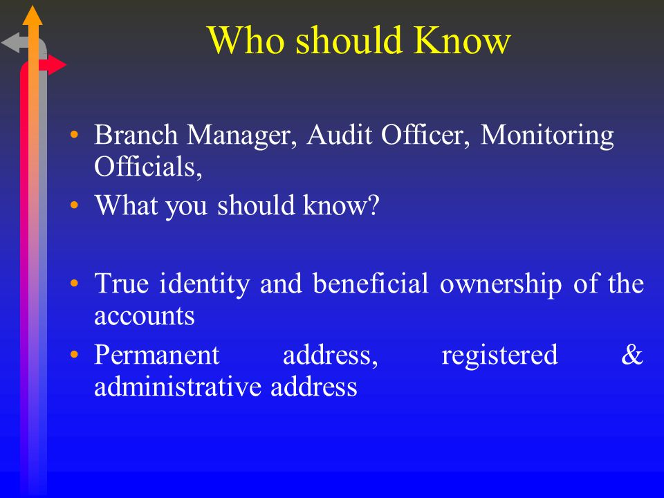 Who should Know Branch Manager, Audit Officer, Monitoring Officials, What you should know.