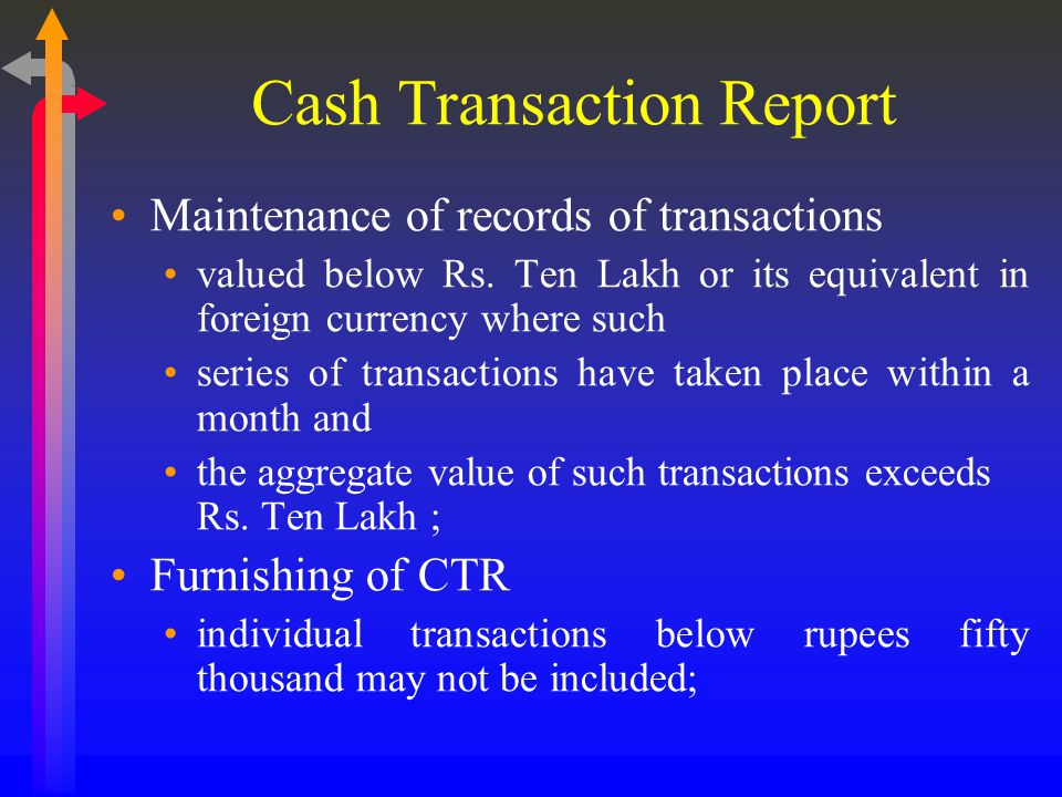 Cash Transaction Report Maintenance of records of transactions valued below Rs.