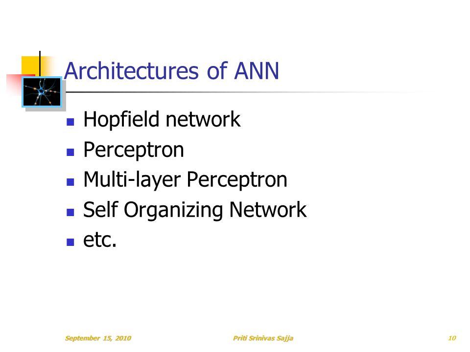 Priti Srinivas Sajja Architectures of ANN Hopfield network Perceptron Multi-layer Perceptron Self Organizing Network etc.