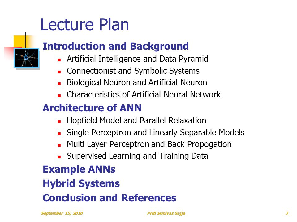 Priti Srinivas Sajja Lecture Plan Introduction and Background Artificial Intelligence and Data Pyramid Connectionist and Symbolic Systems Biological Neuron and Artificial Neuron Characteristics of Artificial Neural Network Architecture of ANN Hopfield Model and Parallel Relaxation Single Perceptron and Linearly Separable Models Multi Layer Perceptron and Back Propogation Supervised Learning and Training Data Example ANNs Hybrid Systems Conclusion and References September 15, 20103
