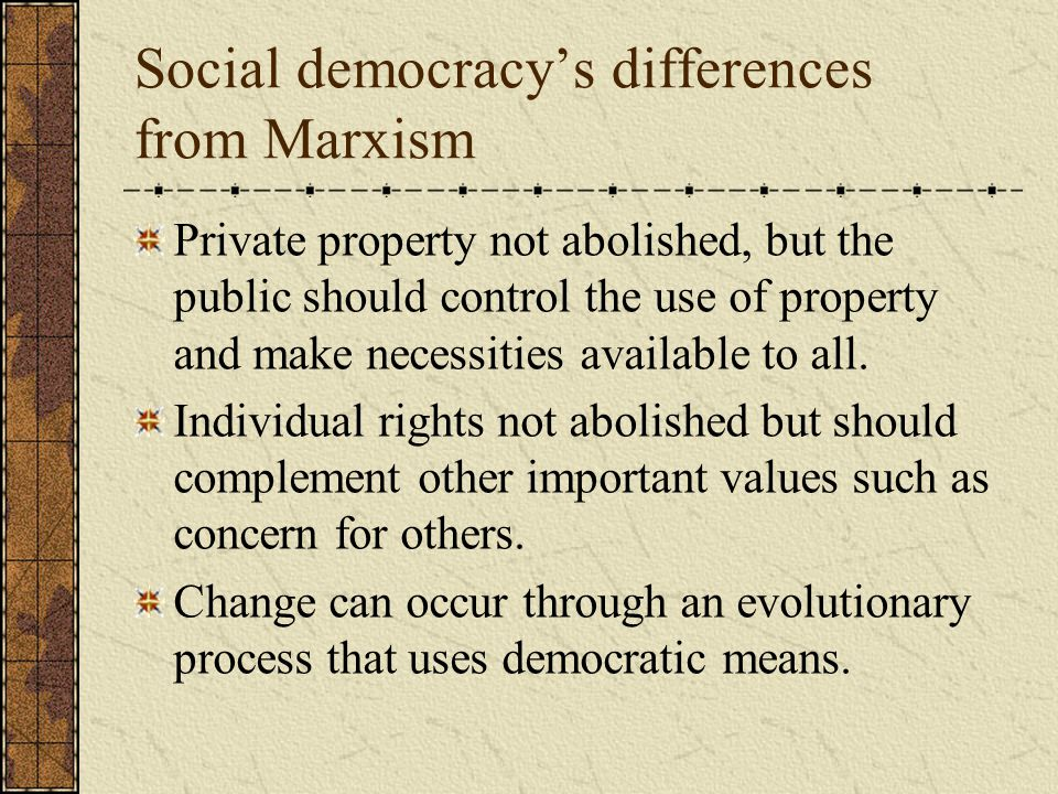 Social democracy's differences from Marxism Private property not abolished, but the public should control the use of property and make necessities available to all.