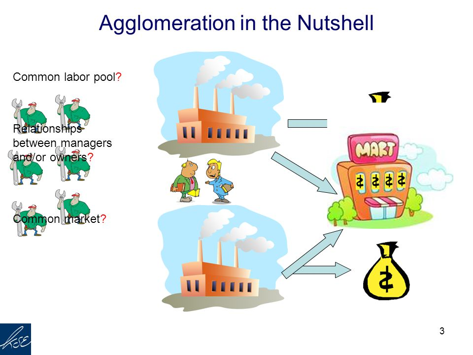 3 Agglomeration in the Nutshell ? Common labor pool? Relationships between managers and/or owners? Common market?