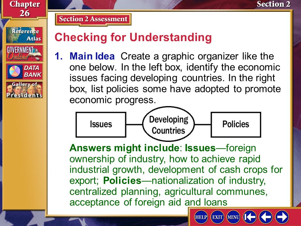 Section 2 Assessment-1 1.Main Idea Create a graphic organizer like the one below. In the left box, identify the economic issues facing developing coun